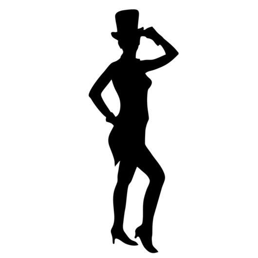 acrylic wall art dancing girl with top hat