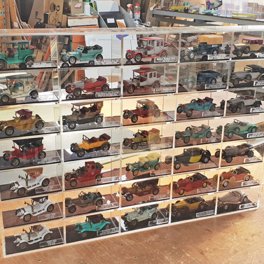 display case for model cars of yesteryear