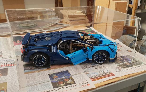 lego Bugatti model in display case
